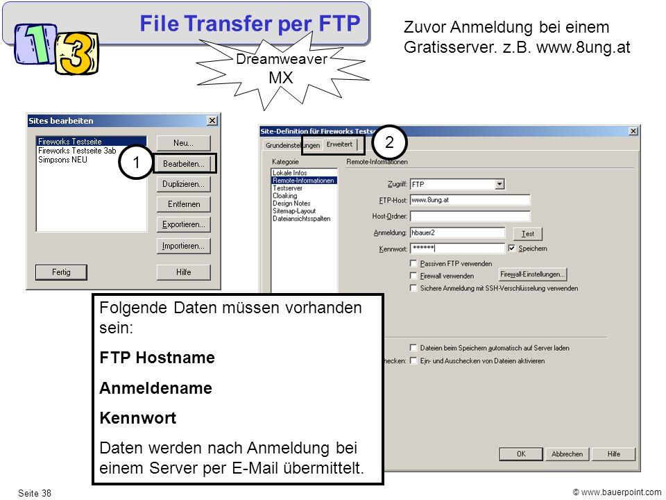 File Transfer per FTP Zuvor Anmeldung bei einem