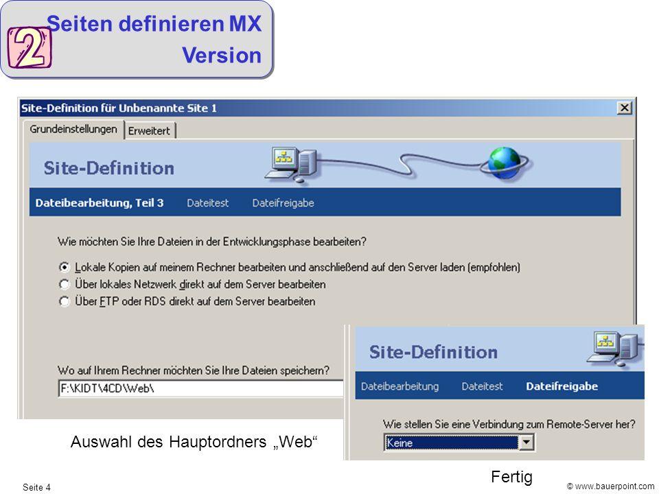Seiten definieren MX Version