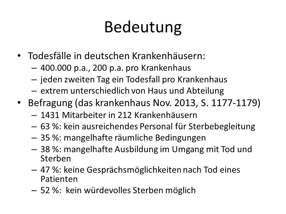 Bedeutung Todesfälle in deutschen Krankenhäusern:
