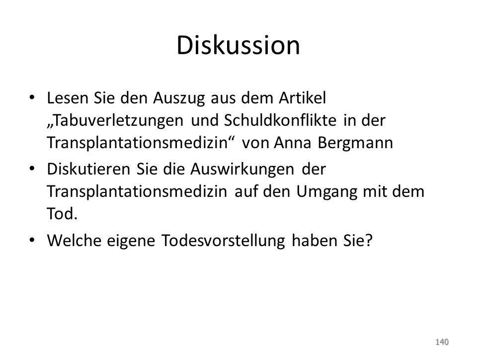 """Diskussion Lesen Sie den Auszug aus dem Artikel """"Tabuverletzungen und Schuldkonflikte in der Transplantationsmedizin von Anna Bergmann."""