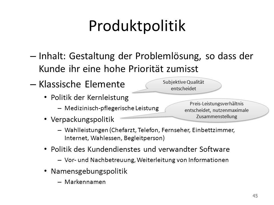 Produktpolitik Inhalt: Gestaltung der Problemlösung, so dass der Kunde ihr eine hohe Priorität zumisst.