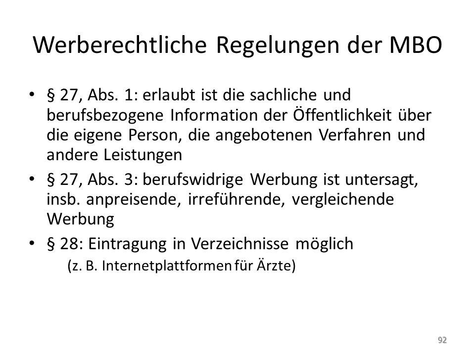 Werberechtliche Regelungen der MBO