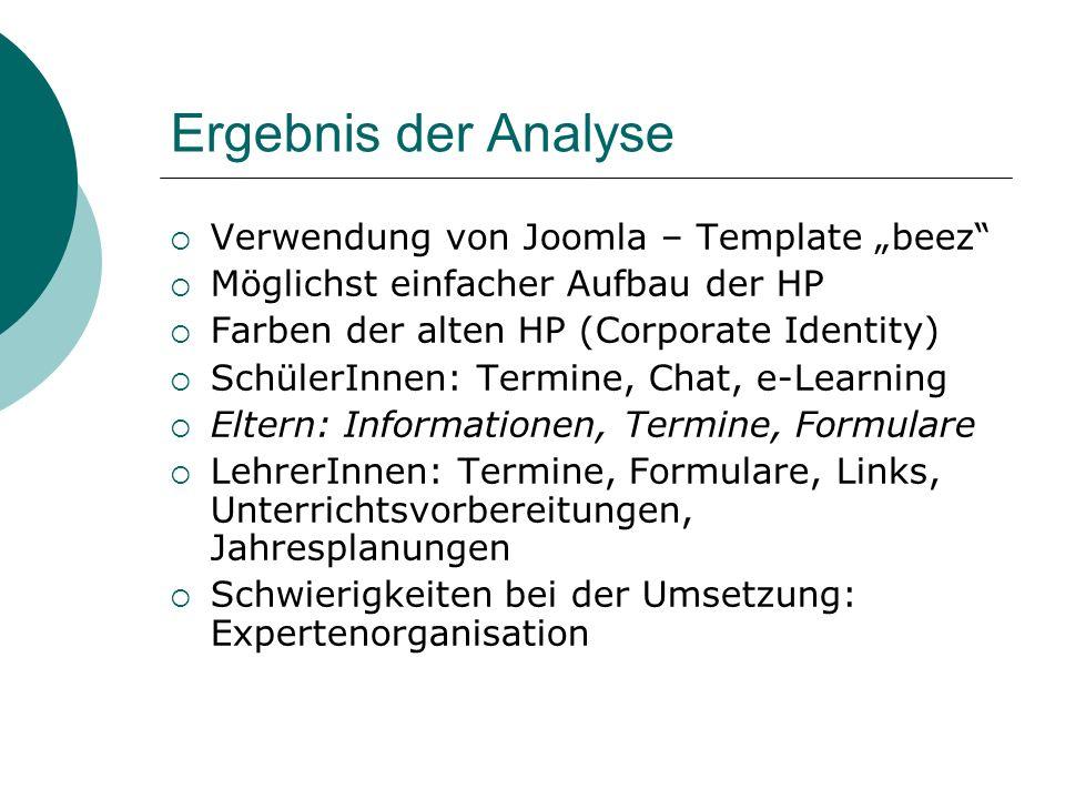 """Ergebnis der Analyse Verwendung von Joomla – Template """"beez"""