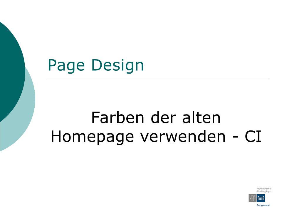 Farben der alten Homepage verwenden - CI