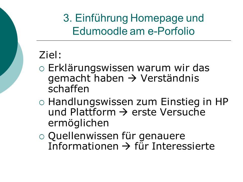 3. Einführung Homepage und Edumoodle am e-Porfolio