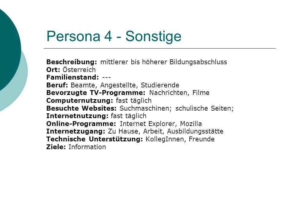 Persona 4 - Sonstige Beschreibung: mittlerer bis höherer Bildungsabschluss. Ort: Österreich. Familienstand: ---