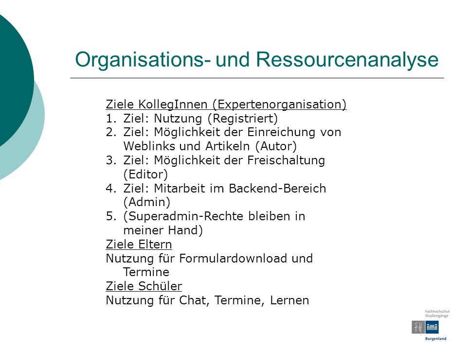Organisations- und Ressourcenanalyse