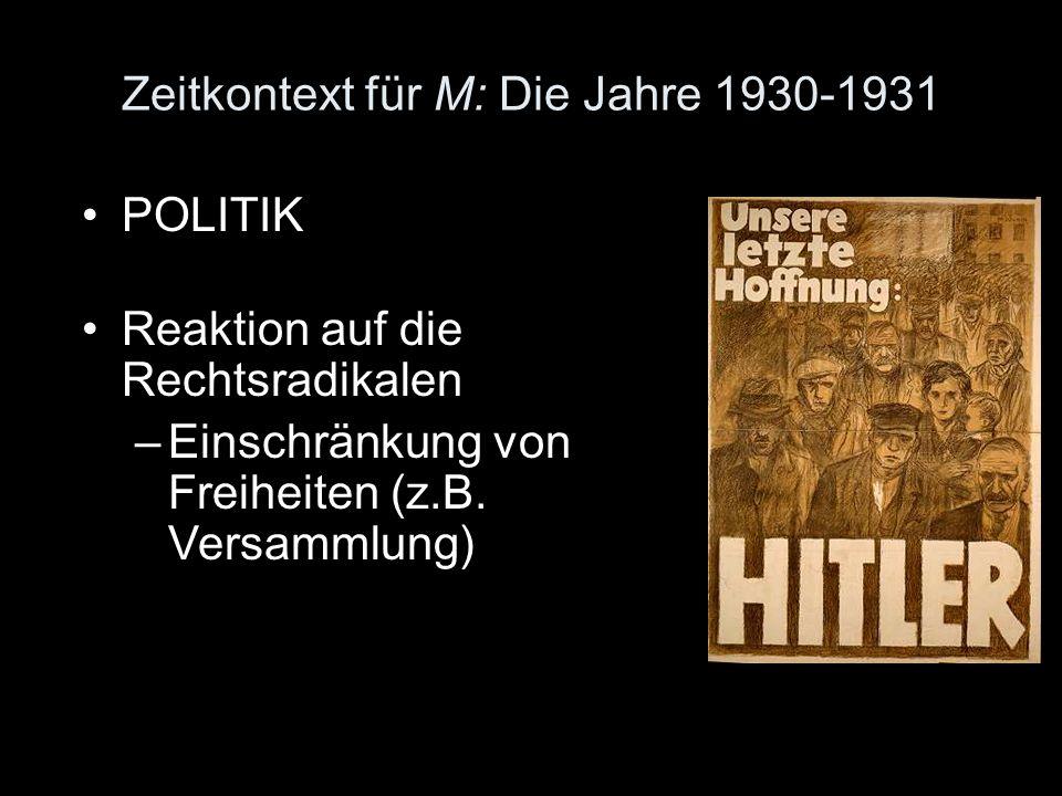 Zeitkontext für M: Die Jahre 1930-1931