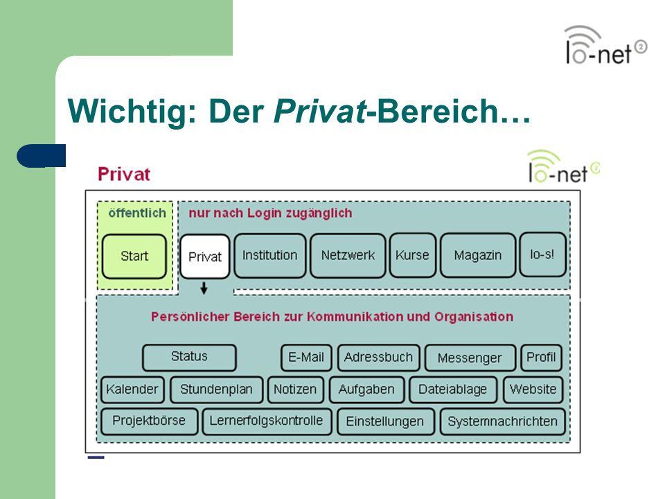 Wichtig: Der Privat-Bereich…