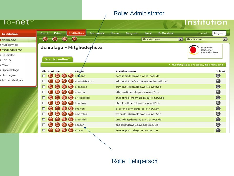 Rolle: Administrator Rolle: Lehrperson