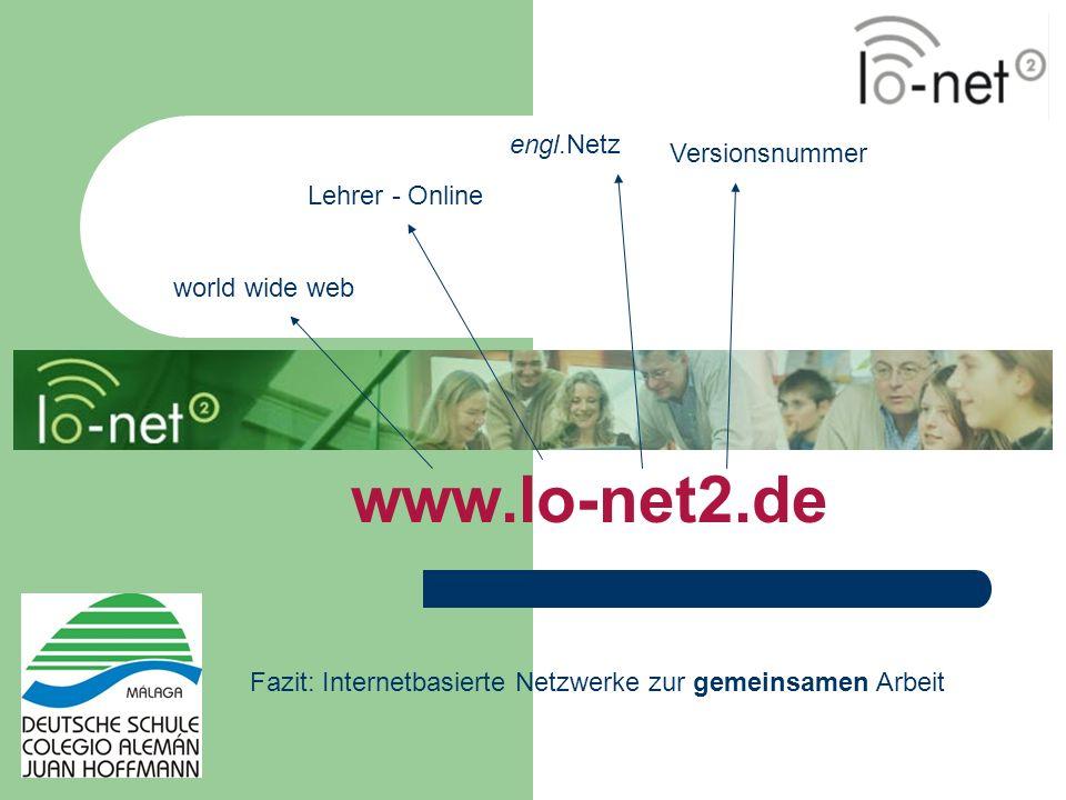 www.lo-net2.de engl.Netz Versionsnummer Lehrer - Online world wide web