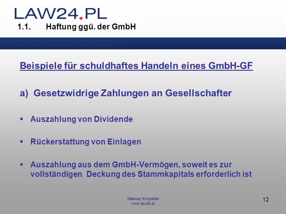 Beispiele für schuldhaftes Handeln eines GmbH-GF
