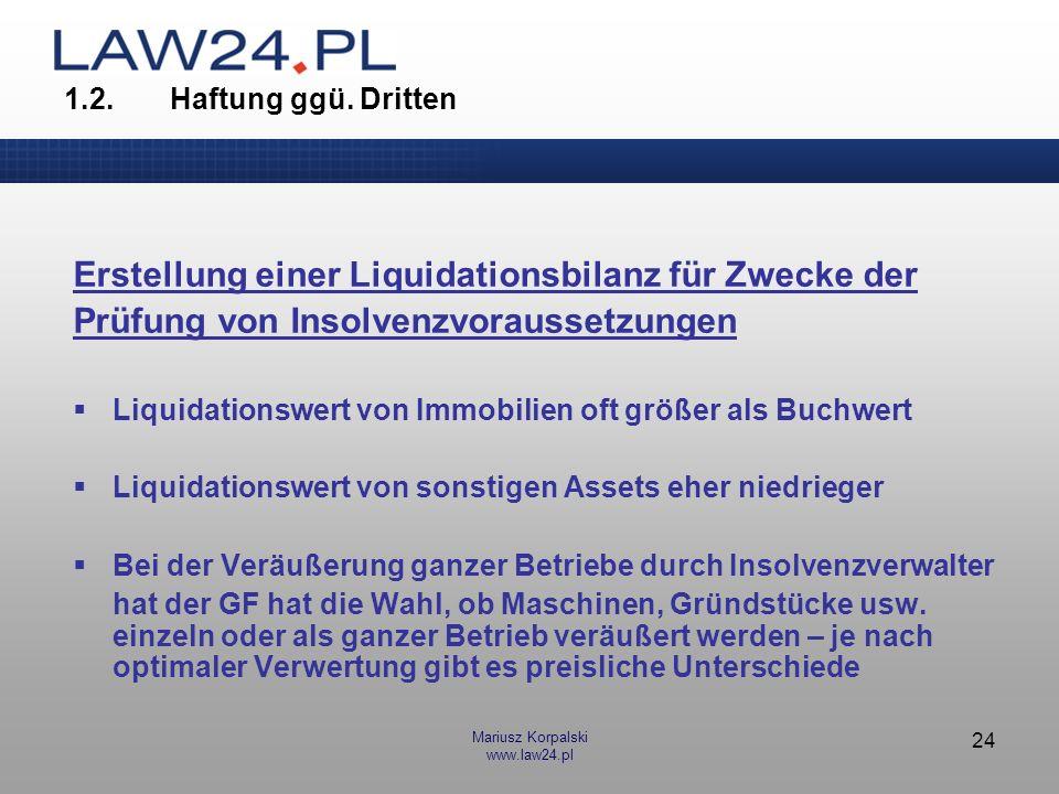 Erstellung einer Liquidationsbilanz für Zwecke der
