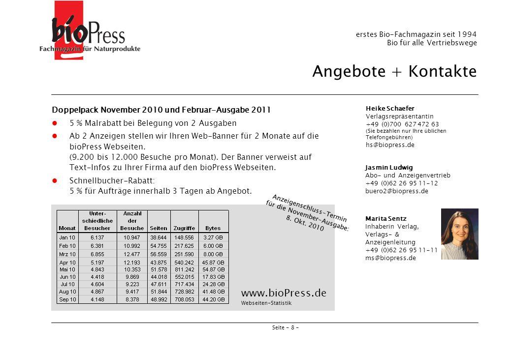 Anzeigenschluss-Termin für die November-Ausgabe: 8. Okt. 2010