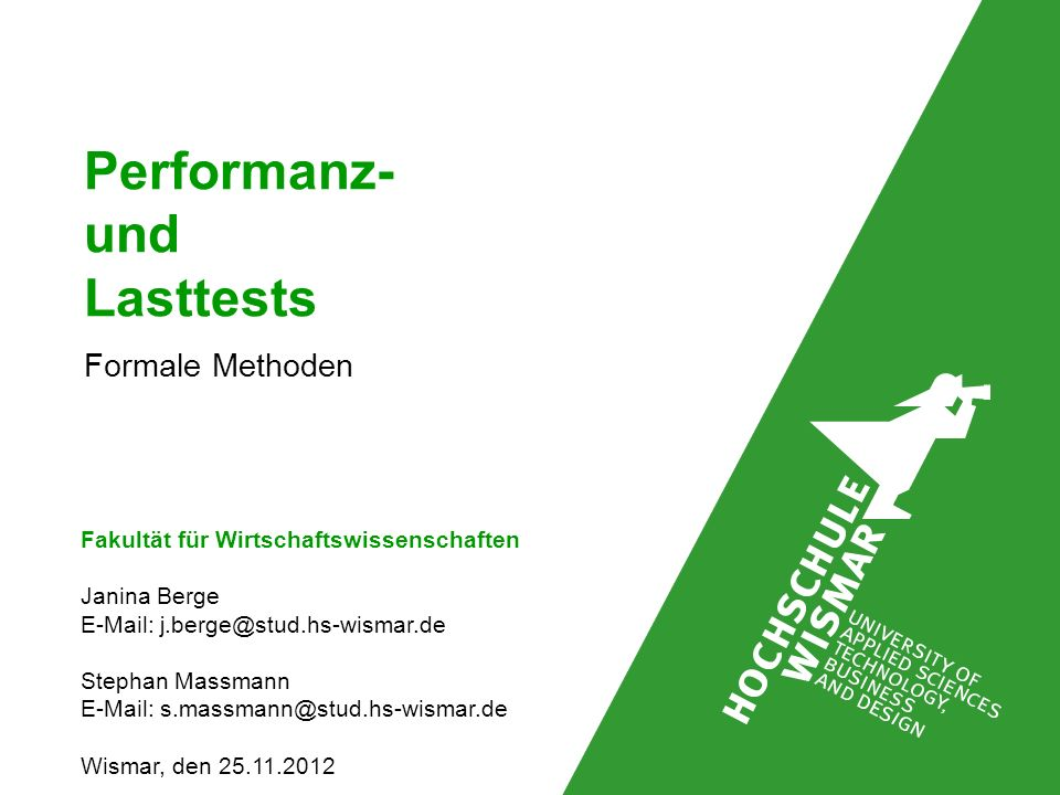 Performanz- und Lasttests Formale Methoden