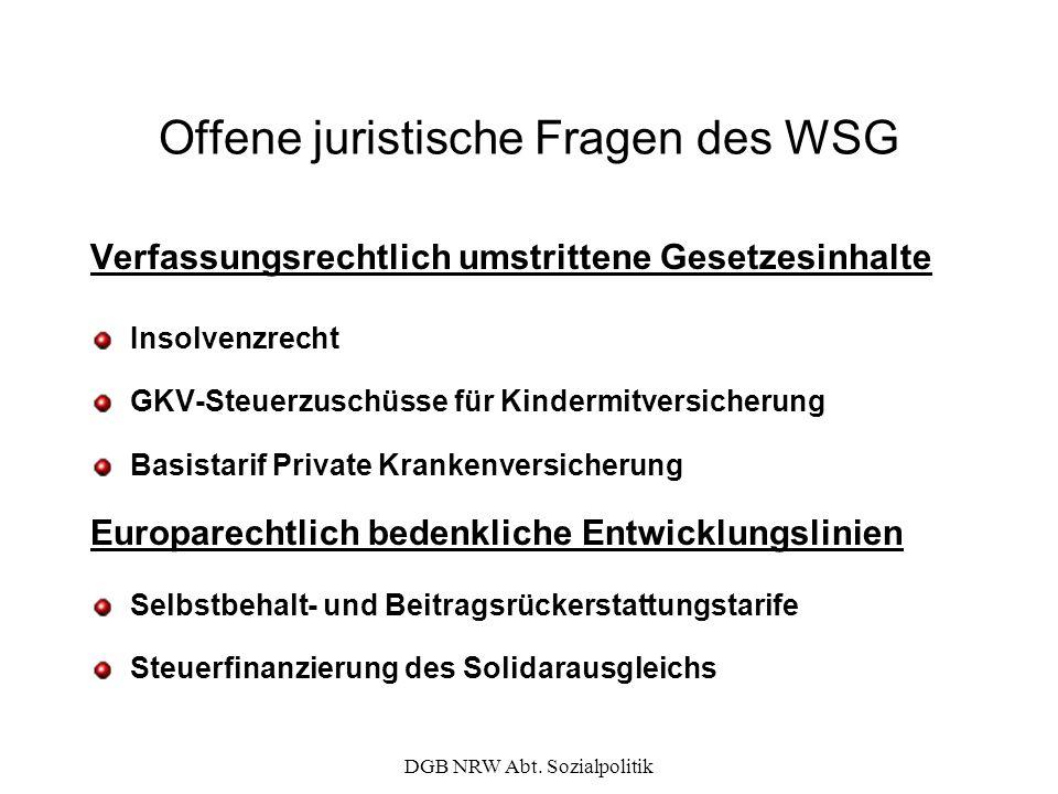 Offene juristische Fragen des WSG