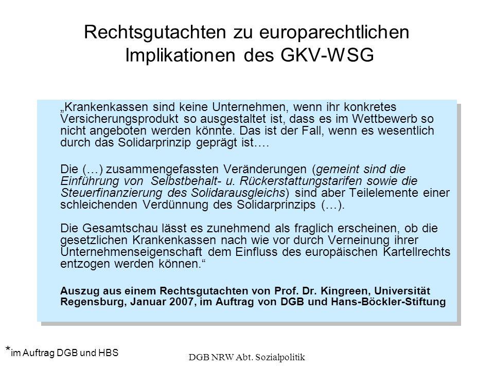 Rechtsgutachten zu europarechtlichen Implikationen des GKV-WSG