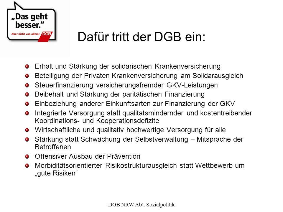 Dafür tritt der DGB ein: