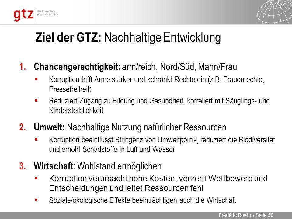 Ziel der GTZ: Nachhaltige Entwicklung