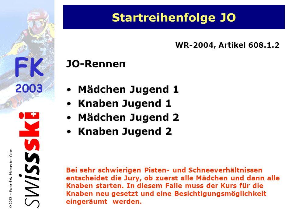Startreihenfolge JO JO-Rennen Mädchen Jugend 1 Knaben Jugend 1