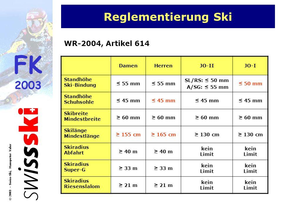 Reglementierung Ski WR-2004, Artikel 614 Damen Herren JO-II JO-I
