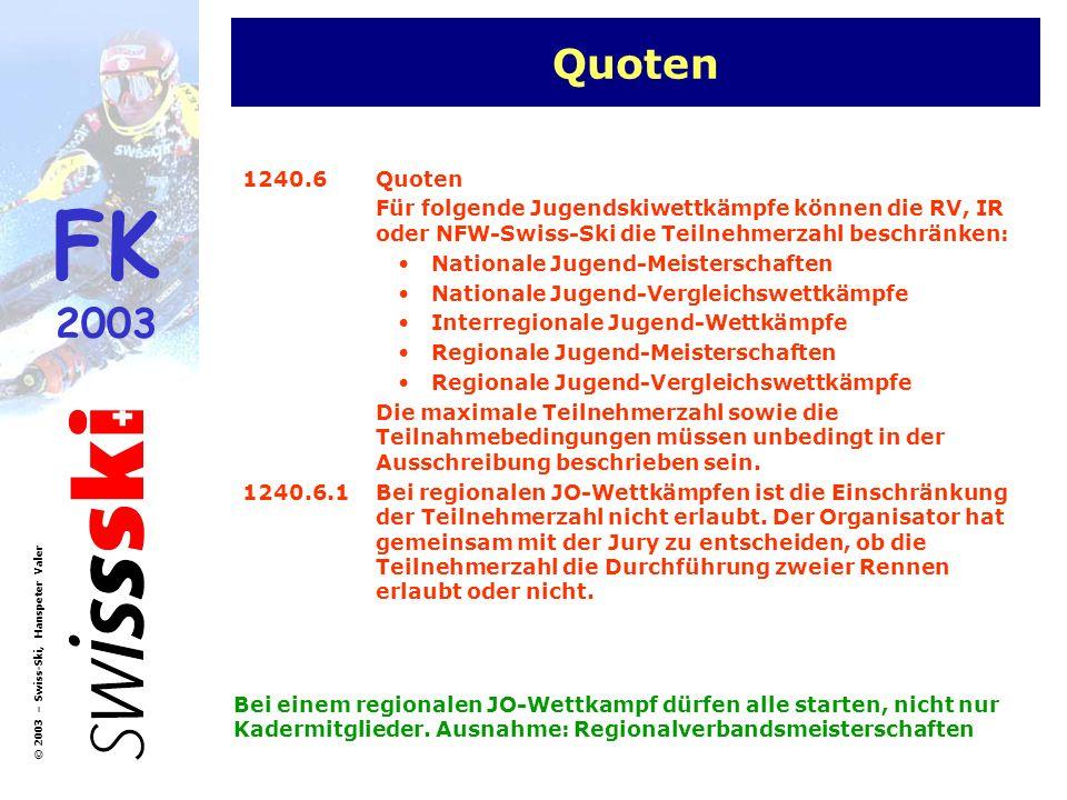 Quoten 1240.6 Quoten. Für folgende Jugendskiwettkämpfe können die RV, IR oder NFW-Swiss-Ski die Teilnehmerzahl beschränken: