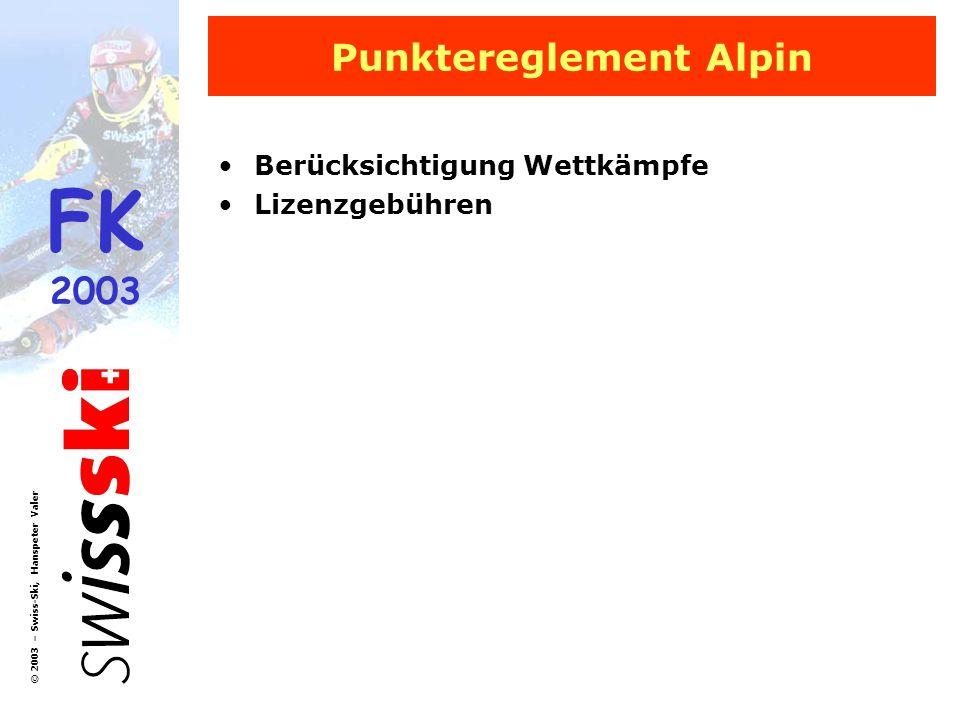 Punktereglement Alpin