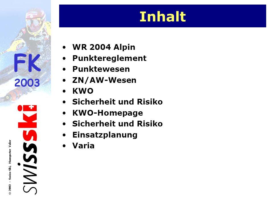 Inhalt WR 2004 Alpin Punktereglement Punktewesen ZN/AW-Wesen KWO