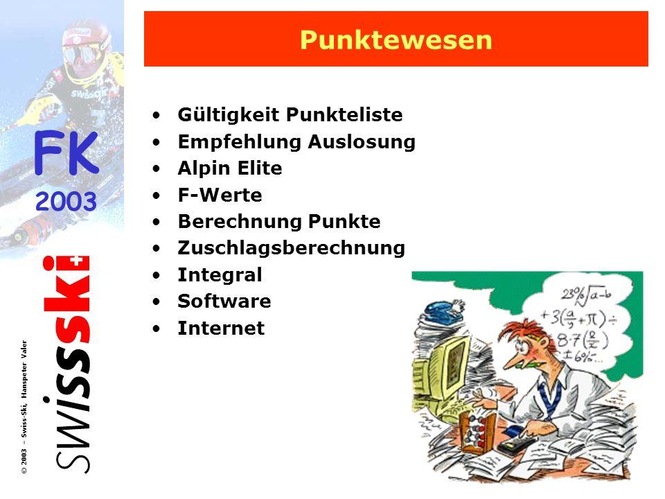 Punktewesen Gültigkeit Punkteliste Empfehlung Auslosung Alpin Elite