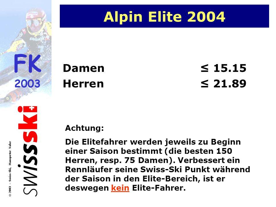 Alpin Elite 2004 Damen ≤ 15.15 Herren ≤ 21.89 Achtung: