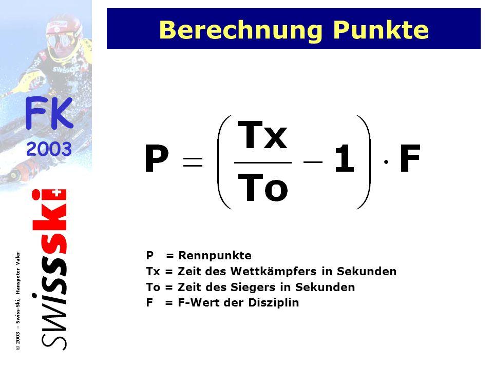 Berechnung Punkte P = Rennpunkte