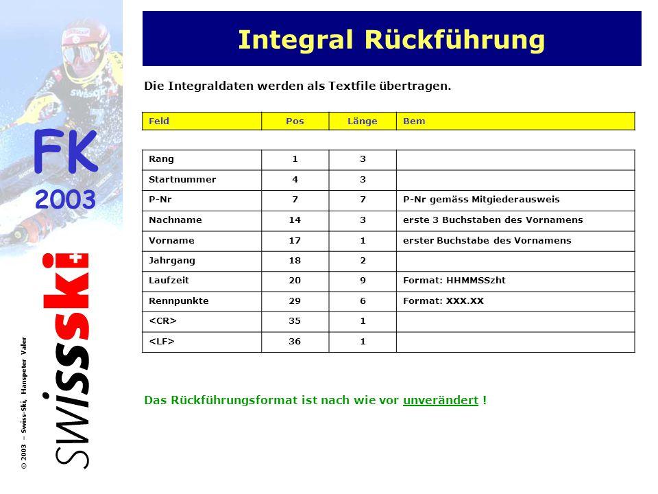 Integral Rückführung Die Integraldaten werden als Textfile übertragen.