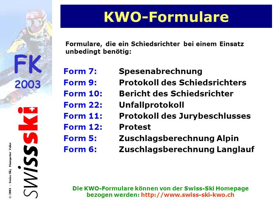 KWO-Formulare Form 7: Spesenabrechnung