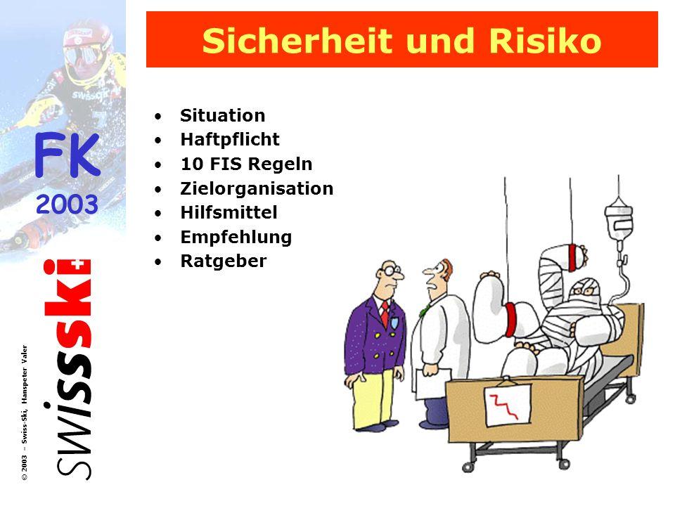 Sicherheit und Risiko Situation Haftpflicht 10 FIS Regeln