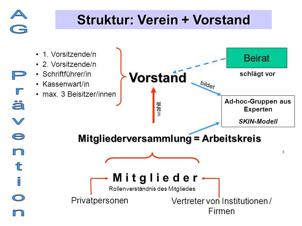 AG Prävention Struktur: Verein + Vorstand Vorstand M i t g l i e d e r