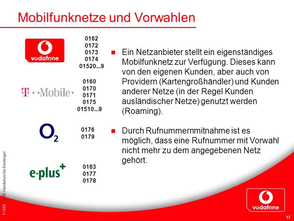 Mobilfunknetze und Vorwahlen