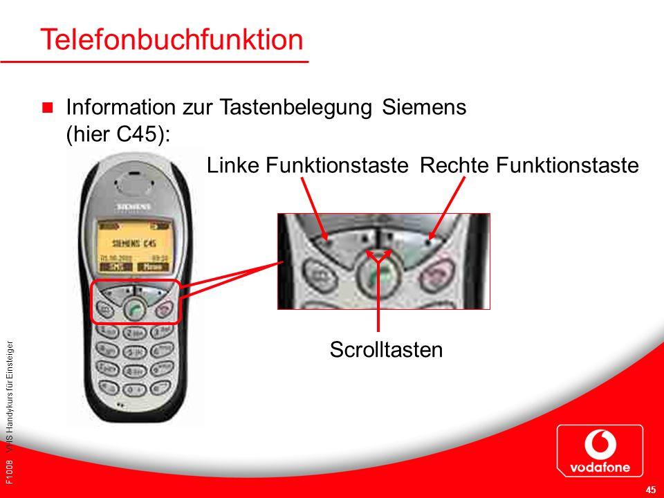 Telefonbuchfunktion Information zur Tastenbelegung Siemens (hier C45):