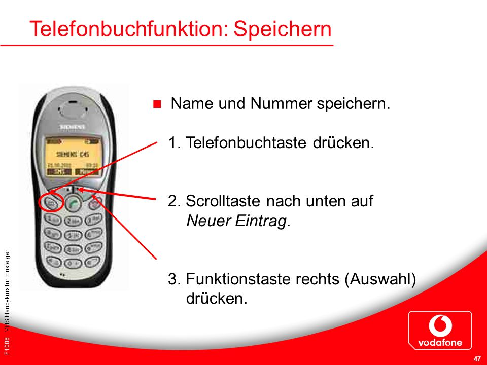 Telefonbuchfunktion: Speichern