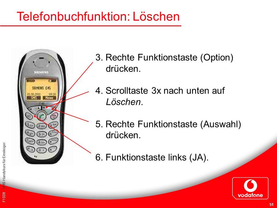 Telefonbuchfunktion: Löschen