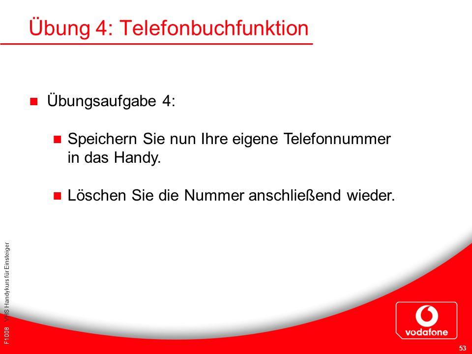 Übung 4: Telefonbuchfunktion