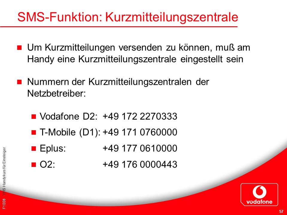 SMS-Funktion: Kurzmitteilungszentrale