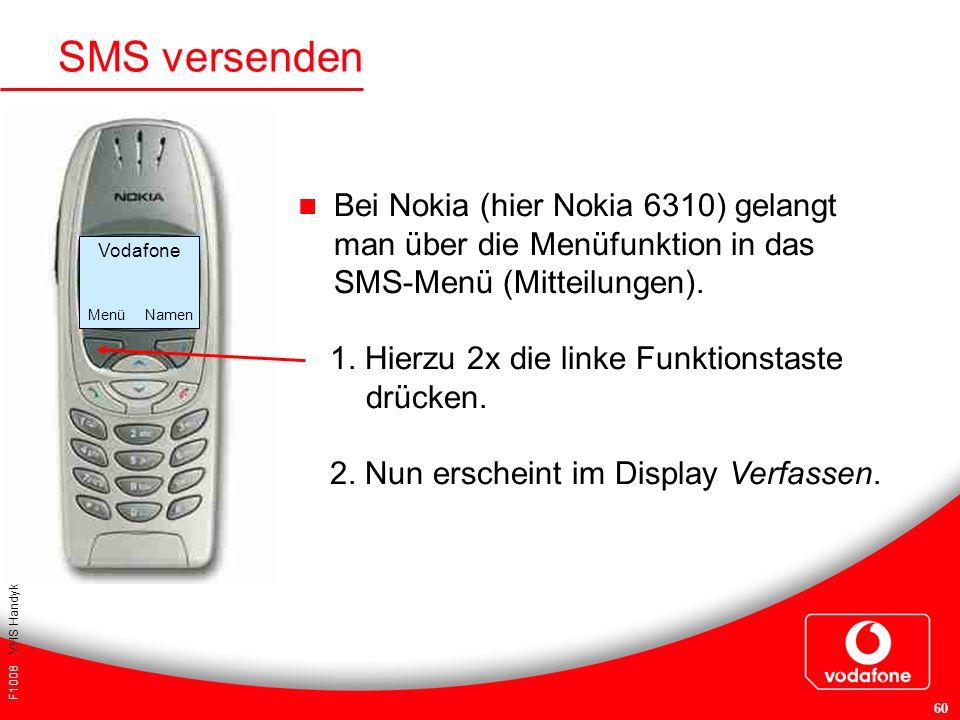 SMS versenden Bei Nokia (hier Nokia 6310) gelangt man über die Menüfunktion in das SMS-Menü (Mitteilungen).