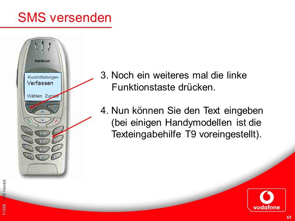 SMS versenden 3. Noch ein weiteres mal die linke Funktionstaste drücken. 4. Nun können Sie den Text eingeben.