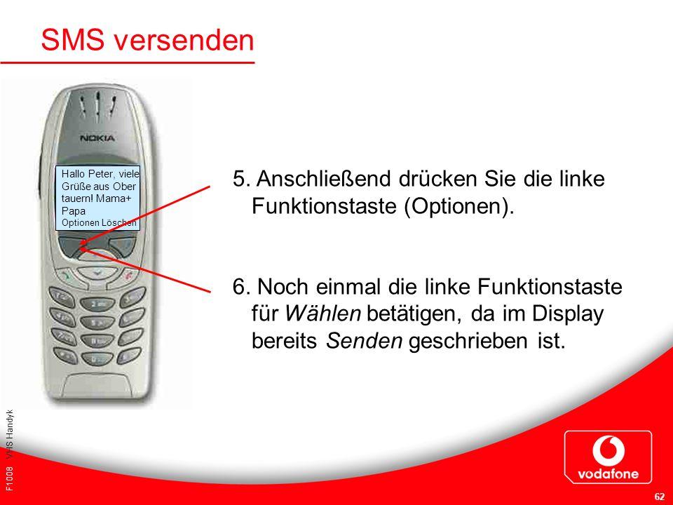 SMS versenden 5. Anschließend drücken Sie die linke Funktionstaste (Optionen).