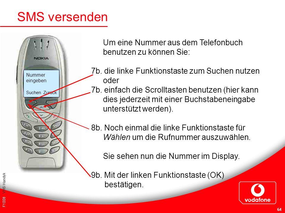 SMS versenden Um eine Nummer aus dem Telefonbuch benutzen zu können Sie: 7b. die linke Funktionstaste zum Suchen nutzen oder.