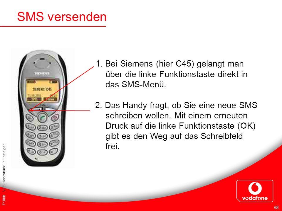 SMS versenden 1. Bei Siemens (hier C45) gelangt man über die linke Funktionstaste direkt in das SMS-Menü.