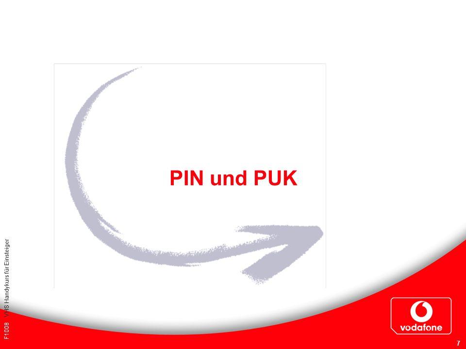 PIN und PUK Für Ihre Notizen: