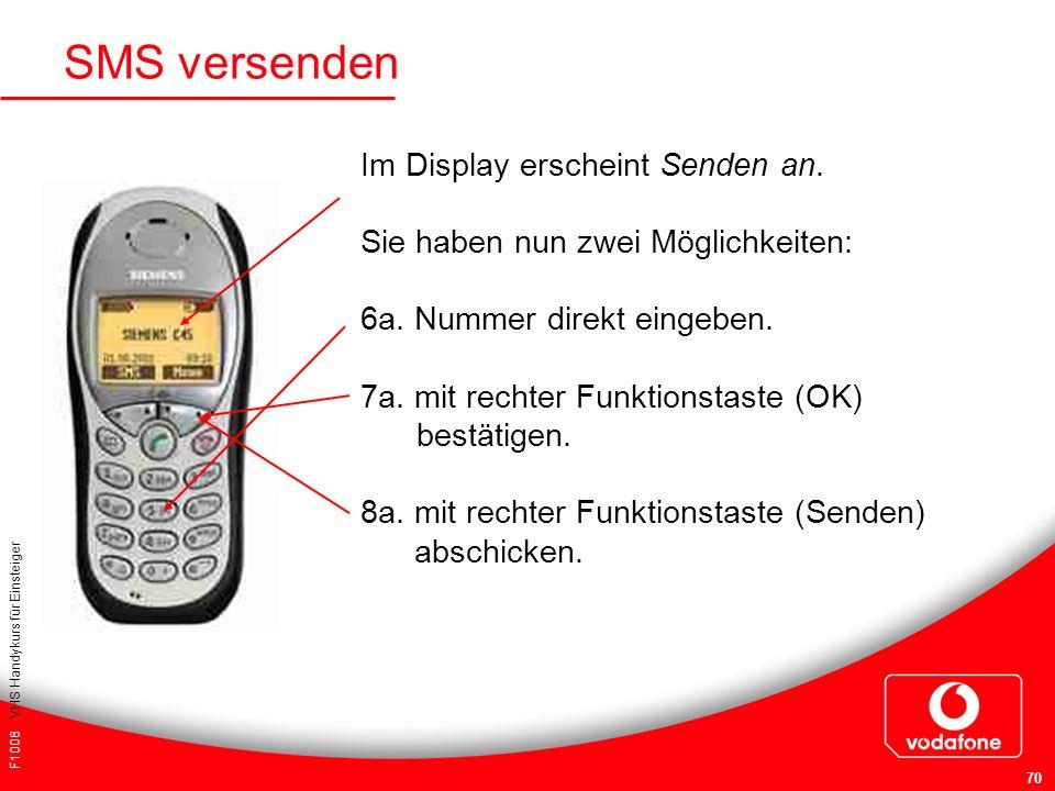 SMS versenden Im Display erscheint Senden an.