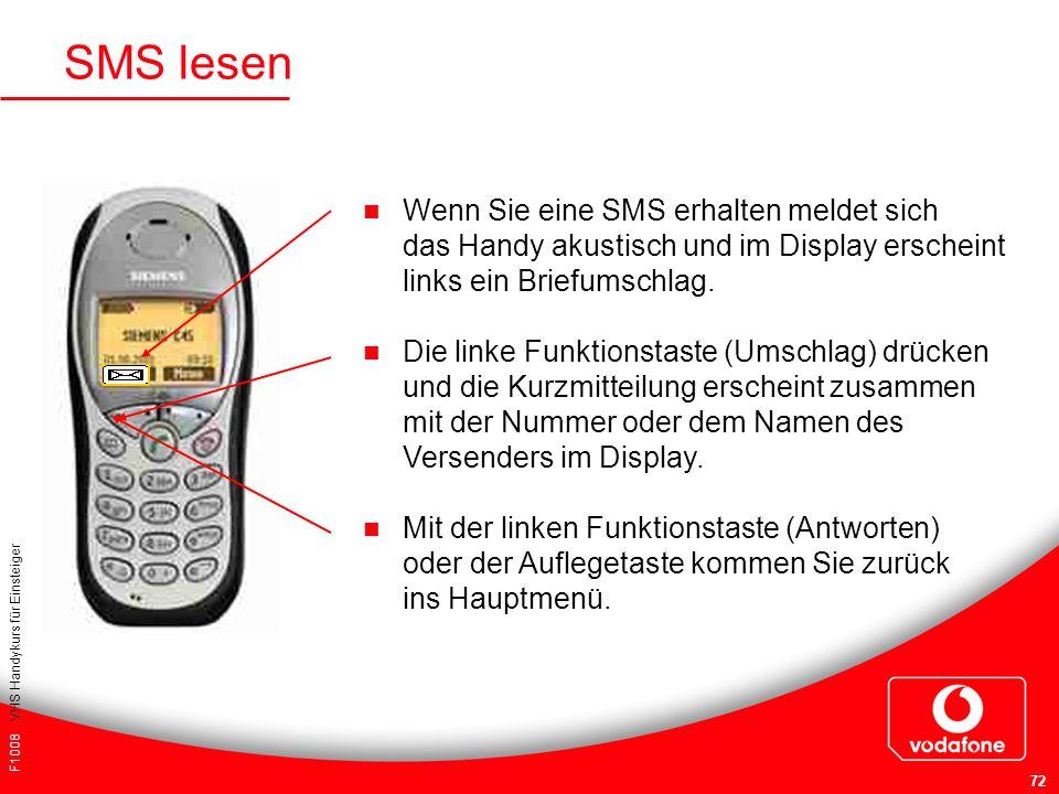 SMS lesen Wenn Sie eine SMS erhalten meldet sich das Handy akustisch und im Display erscheint links ein Briefumschlag.