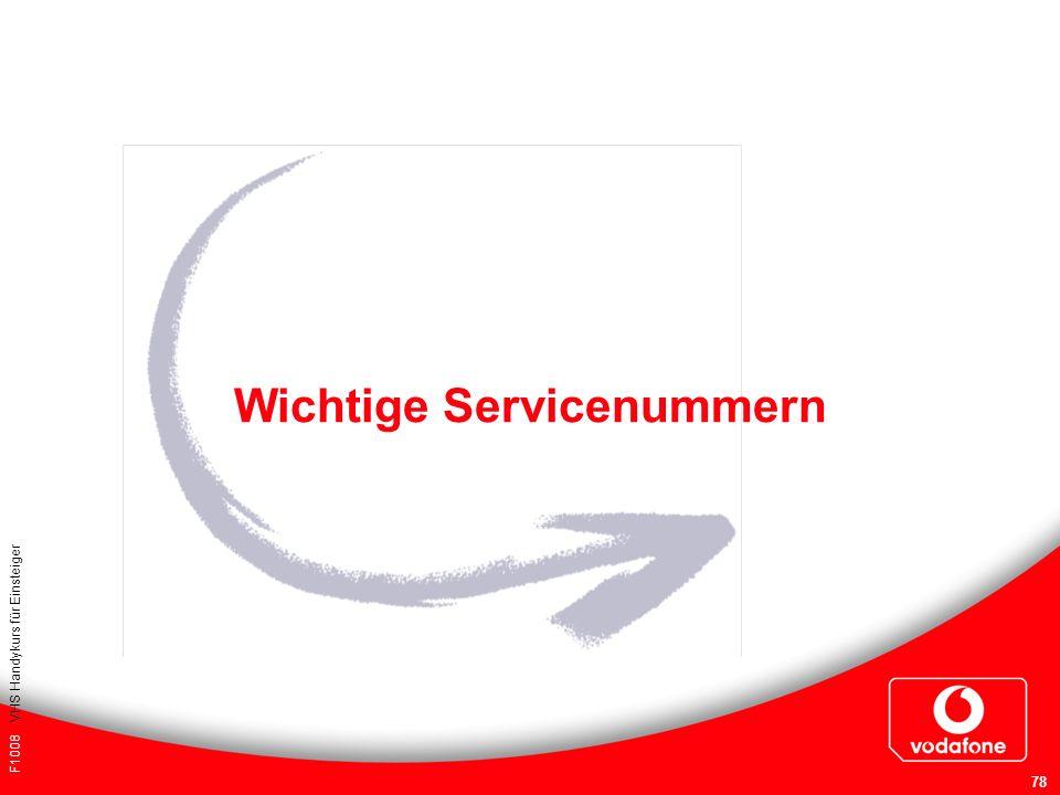 Wichtige Servicenummern